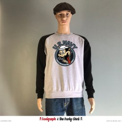US Navy Cat sweat shirt bicolor sweater koolgraph kustom kulture